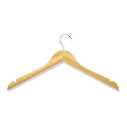 Honey Can Do - 10 Pack Wood Shirt Hanger- Bamboo - 10pk wood, no bar. Chrome hook. Cedar, 1pc card. 17 in. x 5.95 in.