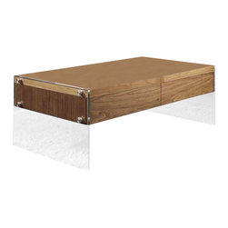 Modern walnut veneer rectangular coffee table Ako - Modern rectangular coffee table Ako features a natural walnut veneer table top. Mounted on a transparent tempered glass base this occasional table has a floating in the air look. It would be an original accent in your modern home.