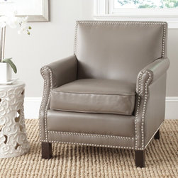 Safavieh - Safavieh Easton Clay Club Chair - The distinguished Easton chair, with slender frame, roll arms and silver nailhead details, is a fireside classic revved up with clay-toned bicast leather and birch legs in an espresso finish.
