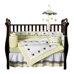Sweet Jojo Designs - Bumble Bee 9-Piece Crib Bedding Set - What's the buzz for your baby's bedding? This honey of a crib set features a fun, not-too-precious print and colors perfect for both boys and girls.