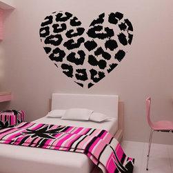 ColorfulHall Co., LTD - Heart Wall Decals Shape Art Decoration Jungle Leopard Print - Heart Wall Decals Shape Art Decoration Jungle Leopard Print