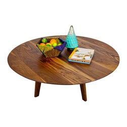 "Moderncre8ve - The Mila: Mid Century Inspired Solid Walnut Round Coffee Table 36"" - This 36"" Mid century inspired piece is made out of Solid Black Walnut."