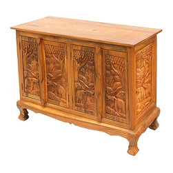 None - Royal Elephants Storage Cabinet/ Sideboard Buffet - Add a majestic, tropical touch to your home decor with a hand-carved storage cabinetFurniture features elegantly rendered elephantsBeautifully hand-carved sideboard buffet has four doors and two side panels