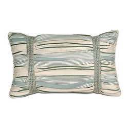 """Frontgate - Carlyle 23"""" x 13"""" Decorative Pillow - From Eastern Accents. Dry clean only recommended. Because this bedding is specially made to order, please allow 4-6 weeks for delivery.. Our beautiful Carlyle Bedding Collection incorporates a muted color palette of blues and ivory in a formal large frame pattern.  .  . . Made in USA of imported goods. Part of the Carlyle Bedding Collection."""