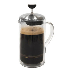 Primula - Primula 8-cup Double Wall Glass Coffee Press - Primulas 8-cup Double Wall Glass Coffee Press is the best in brewing steaming hot loose tea or coffee. Classically designed,this press is made of durable borosilicate glass which retains heat and freshness longer.