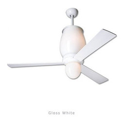 """Modern Fan - Modern Fan Lumina ceiling fan - The Lumina ceiling fan was designed by Ron Rezek for The Modern Fan Co. The Lumina fan represents Ron Rezek's vision of a grand sculptural form that serves the purpose of both a chandelier and a ceiling fan. It combines two serene glass shapes, both glowing with either incandescent or energy-saving fluorescent light. The Lumina includes 1 standard down rod, 14"""", yielding 27"""" overall length respectively. Accessory down-rods are available for longer overall lengths.   Product Details:   The Lumina ceiling fan was designed by Ron Rezek for The Modern Fan Co. The Lumina fan represents Ron Rezek's vision of a grand sculptural form that serves the purpose of both a chandelier and a ceiling fan. It combines two serene glass shapes, both glowing with either incandescent or energy-saving fluorescent light. The Lumina includes 1 standard down rod, 14"""", yielding 27"""" overall length respectively. Accessory down-rods are available for longer overall lengths.                                      Manufacturer:                                      The Modern Fan Company                                                     Designer:                                     Ron Rezek                                                     Made in:                                     USA                                                     Dimensions:                                      Height: 27"""" (68.6 cm) X Blade Span: 42"""" (106.7 cm) or 52"""" (132.1 cm)                                                     Light Bulb:                                     1 X 120W Incandescent + 75W Incandescent or 1 X 52W + 26W Energy Saving CFL Fluorescent"""