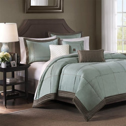 """Madison Park - Cascade 6-piece Duvet Set, Blue - For a clean, modern bed, you can't go wrong with Cascade. This collection is made from a beautiful faux silk fabrication, with pleating details. The decorative pillows have clean styling and are just a perfect finish to this collection. Features: -Available in Full / Queen or King sizes. -Material: 100% Polyester. -Color: Blue. -Dupioni with pin tucking and stitch details. -Faux silk fabrication, with pleating details. -Decorative pillows have clean styling and are just a perfect finish to this collection. -Dimensions: 90""""-104"""" Height x 90""""-92"""" Width."""