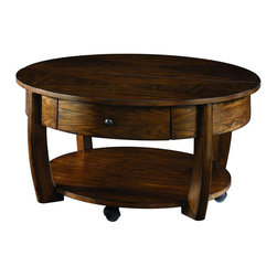"Hammary - Concierge Round Cocktail Table in Medium Brown Finish - ""With its stunning new """"Concierge"""" collection, Hammary has thought of everything. No detail is too small, no convenience overlooked. Nothing spared to create some of the finest furniture on the market."