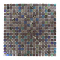 """GlassTileStore - Whimsical Sandpebble Glass Tile - Whimsical Sandpebble Glass Tile             Add a pop to any room with these beautiful tiles that are versatile; great to use for back splash for a kitchen or a fireplace. This tile is great to use for the bathroom, or kitchen installation.         Chip Size: 5/8"""" x 5/8""""   Color: Shades of Brown   Glass and Dark Emperador   Finish: Polished and Stained   Sold by the Sheet - each sheet measures 11 3/4"""" x 11 3/4"""" (0.96 sq. ft.)   Thickness: 3mm            - Glass Tile -"""