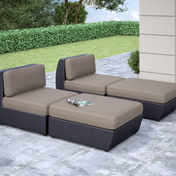 CorLiving - CorLiving Seattle Curved 4-piece Lounger Patio Set - Design your outdoor space with this contemporary curvy lounger set by CorLiving. Featured in a textured black weave and accented with sultry grey woven seat covers this versatile set is perfect for all of your of your summer poolside lounging.