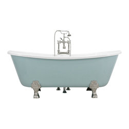 The Tub Studio - Nicolosia Acrylic French Bateau Clawfoot Tub Package, Aquatint Blue Exterior, 59 - Product Details