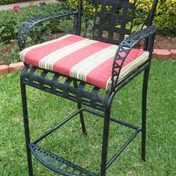 International Caravan - Patio Bar Stool in Antique Black Wrought Iron - Set of 2. Cushion not included. Complete outdoor weather and rust protection. Beautiful diamond lattice design. Easily assembled. Made from premium tubular wrought iron. Minimal assembly required. 25 in. W x 24 in. D x 48 in. H. Seat height: 31 in. H