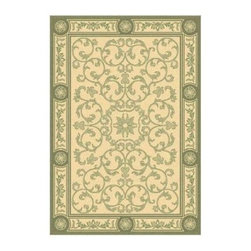 Safavieh Courtyard 2829 Indoor/Outdoor Area Rug - Perfect for antique, outdoor furnishings, the Safavieh Courtyard 2829 Indoor/Outdoor Rug features a delicate green border and pattern over a beige center. This polypropylene rug is machine-made using a specially developed sisal weave, which allows for the intricate and elaborate details in the design. Made in Belgium, it has a one-year limited warranty and can be cleaned by spraying it with a garden hose.Sizes offered in this rug:Following are all sizes for this rug. Please note that some may be currently unavailable due to inventory. Also please note that rug sizes may vary by up to 4 inches in dimensions listed.Dimensions:2 x 3.7 ft.2.7 x 5 ft.4 x 5.7 ft.5.3 x 7.7 ft. 6.7 x 9.6 ft.7.10 x 11 ft.5.3 ft. Round6.7 ft. Round2.4 x 6.7 ft. RunnerAbout Safavieh RugsSafavieh is a leading manufacturer and importer of fine rugs. Established in 1914 in the capital of Persian weaving masters, the company today brings three generations of knowledge and experience to its award-winning collections. In the United States since 1978, Safavieh has been a pioneer in the creation of high-quality handmade rugs, a trend that revolutionized the rug business in America. Its collections range from the finest antique and historical reproductions to the most fashion-forward contemporary and designer rugs.Please note this product does not ship to Pennsylvania.