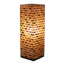 Jeffan International - Valentti Large Square Table Lamp w Capiz Shell Mosaic Shade - Multicolored capiz shells in a classic bricklay pattern highlight this towering table lamp, an exotic, stately way to add color and accent lighting to your home's decor. Finished in brown and amber, the square lamp is made of shell studded fiberglass and has a solid wood base. Bulb not included. Requires one 40/60 watt bulb. Unique lighting for great ambiance. Recognized by HGTV for its innovative design. Made of fiberglass covered with small rectangular shaped capiz shells. Black wooden base. 7 ft. electrical cord with on/off switch. Made from fiberglass and shell. Made in Indonesia. No assembly required. 8 in. L x 8 in. W x 25 in. H (7 lbs.)