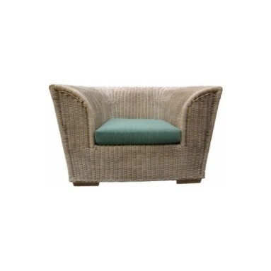 Eco Friendly Furnture and Lighting - A monumental hand woven rattan chair with upholstered base and feather and down seat cushion. With stained beech feet.