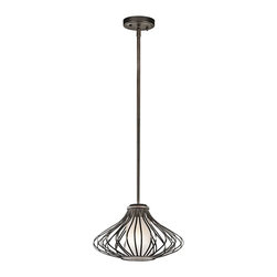 Kichler Lighting - Kichler Lighting 43200OZ Modern / Contemporary Pendant Light - This classic 1 light mini pendant will effortlessly add to the beauty of your home. Featuring a refined Olde Bronze™ finish and beautiful Satin Etched Glass, this design will accent any space.