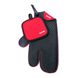 Concept Housewares - Ulta-Mitt 3-finger Kitchen Glove with Bonus Red Hot Pad - Keep your fingers from getting burned with this useful hot pad and kitchen mitt set. Featuring a unique three-finger design,the neoprene kitchen glove provides more flexibility than a typical mitt and allows you to grip hot items with ease.