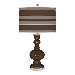 """Color Plus - Contemporary Carafe Bold Stripe Apothecary Table Lamp - This apothecary style Color + Plus™ glass table lamp will infuse your decor with brilliant color and style. This beautiful Carafe brown designer lamp is hand-crafted by experienced artisans in our California workshops. It stands on a lucite base and is topped with a custom made-to-order shade that features a Bold Stripe pattern in rich color tones that complement the base hue. U. S. Patent # 7347593. Designer Carafe brown glass table lamp. Bold Stripe pattern giclee-printed shade. Custom made-to-order translucent drum shade. Lucite base. Maximum 150 watt or equivalent bulb (not included). On/off switch. 30"""" high. Shade is 16"""" across the top 16"""" across the bottom 11"""" high.  Designer Carafe brown glass table lamp.  Bold Stripe pattern giclee-printed shade.  Custom made-to-order translucent drum shade.  Lucite base.  Maximum 150 watt or equivalent bulb (not included).  On/off switch.  30"""" high.   Shade is 16"""" across the top 16"""" across the bottom 11"""" high."""