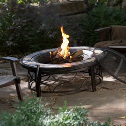 Red Ember Brighton 40 in. Round Slate Top Fire Pit Table - A stone & tile outer rim accents classic antique bronze finish to make the Red Ember Brighton 40 in. Round Slate Top Fire Pit Table a hot addition for any backyard. Steel construction and ornate base design bring this outdoor-ready piece to light. Domed spark screen and log rack included. About Red EmberAt the center of any good outdoor gathering is a fire. At the center of a fire a Red Ember. We make fire products designed to bring people together. Red Ember products harness the age-old power of fire to comfort heat cook and enchant. Our experience and expertise in the industry allow us to provide added features and extras without burning a hole in your pocket. It's not about spending a lot of money - it's about lighting a fire. Get together and gather 'round a Red Ember.