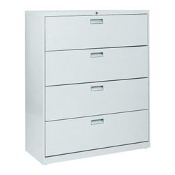 Sandusky Lee 600 Series 42 Inch 4 Drawer Lateral Filing Cabinet - A top choice for home or office storage, the traditionally styled Sandusky Lee 600 Series 42 Inch 4 Drawer Lateral Filing Cabinet is packed with special features to keep your files secure and neatly organized. Built with durable, commercial-grade welded steel, the cabinet features four massive 19.25-inch drawers equipped to hold letter and legal files on side-to-side hanging rails. Drawers feature rolled edges for strength, rigidity and safety, and they fully extend on steel ball-bearing suspension slides with three telescoping sections.Drawer fronts are reinforced with steel and outfitted with aluminum handles. A center lock secures both sides of each drawer with the easy turn of a single key (two are included). The file cabinet stays firmly in place with a built-in anti-tipping interlocking system, and an inner counterweight allows only one drawer to open at a time. Neutral powder-coat finishes fit into any design scheme, and the cabinet arrives fully assembled so you can start storing immediately. ANSI/BFMA rated.About Sandusky Cabinets and Lee MetalSandusky Cabinets and Lee Metal have been major suppliers of steel storage solutions for nearly 70 years. Their diverse product line is tailored to the specific needs of office, commercial, industrial, and educational markets while ensuring low logistics costs and fast delivery times, which means the products are handled a minimal number of times in transit.Please note this product does not ship to Pennsylvania.