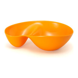 "Q Squared NYC - 11"" Chip & Dip Bowl Tangerine Orange - This playful serving piece features a small compartment and a large compartment, making it perfect for chips and dips. The organic design is a spirited nod to midcentury modern styling, while the bright color dares you not to smile. Made of dressy, durable melamine, for years of easy-care enjoyment."