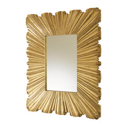 Global Views - Linen Fold Mirror - Brass - A dimensionally folded fabric pattern is created by hand applied brass or white metal alloy metal cladding over wood.  Hangs on a standard cleat system, included.  Hangs with cleat in either direction.