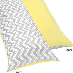 Sweet Jojo Designs - Zig Zag Yellow and Gray Body Pillow Cover by Sweet Jojo Designs - The Zig Zag Yellow and Gray Body Pillow Cover by Sweet Jojo Designs, along with the  bedding accessories.
