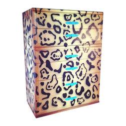 Leopard Print Vintage Dresser Turquoise Hardware - Dimensions 34.0ʺW × 18.0ʺD × 55.0ʺH