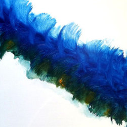 """Rhapsodic (Original) by K. Rishay Moehr - Rhapsodic is a flurry of blue with some deep green and a touch of golden yellow. It's got a """"washy"""" vibrant feel that is very contemporary. It is ready to hang with black finished edges."""