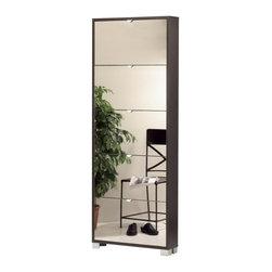 Sarmog - Wenge Shoes Rack with 5 Folding Single-Depth Mirror Doors - A high-quality option.