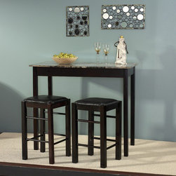 "Linon - Tavern 3 Piece Counter Height Dining Set - Features: -Counter height stools with padded, black vinyl seat covers.-Stools tuck neatly under the table when not in use.-Convenient and space saving design.-Faux stone paper-wrapped top.-Set includes 1 rectangular table and 2 backless counter stools.-Espresso finish.-Top Finish: Faux Marble.-Base Finish: Espresso.-Hardware Finish: Silver/Gold.-Distressed: No.-Powder Coated Finish: No.-Gloss Finish: No.-Top Material: Faux Marble.-Base Material: MDF/Veneer.-Solid Wood Construction: No.-Reclaimed Wood: No.-Number of Items Included: Includes Table and 2 Stools.-Hardware Material: Metal.-Non-Toxic: No.-Scratch Resistant: No.-Leaf Included: No.-Seating Capacity: 2.-Wine Storage: No.-Shelving: No.-Drawers: No.-Stemware Holder: No.-Upholstered Side Chair: Yes.-Upholstered Arm Chair: No.-Upholstered Bench: No.-Cushioned Chair Seats: No.-Chair Casters: No.-Lighted: No.-Weight Capacity: 250 lbs.-Swatch Available: No.-Commercial Use: No.-Recycled Content: No.-Eco-Friendly: No.Specifications: -ISTA 3A Certified: Yes.Dimensions: -Table: -Overall Table Height - Top to Bottom: 36"".-Overall Table Width - Side to Side: 42"".-Overall Table Depth - Front to Back: 22.25""..Assembly: -Assembly required.-Assembly Required: Yes.-Tools Needed: Tools Included.-Additional Parts Required: No."