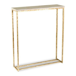 Interlude - Interlude Edland Console - Antique Gold Leaf - Narrow console in cream marble and antique gold is perfect for landing or transitional space in your home.