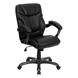 Flash Furniture - Flash Furniture Mid-Back Black Leather Overstuffed Office Chair - When comfort is as important as design, look no further than this Overstuffed Executive Leather Office Chair from Flash Furniture. Featuring a Mid-Back contemporary design, gorgeous leather, and a comfortable seating experience, the object you desire can be had.