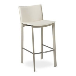 """TFG Furniture - Elston Barstool in Ivory - TFG Furniture Elston Barstool in Ivory. Elston Barstool in Ivory. Barstools feature hand sewn supple leather seats and back. Legs are leather wrapped and hand sewn. Underlying construction includes a steel frame and firm foam cushion. Horizontal stabilizers in stainless steel are added for extra support. No assembly required. Barstool height is 30""""."""