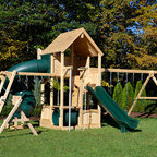 Canterbury loaded! - White cedar swing set with everything!