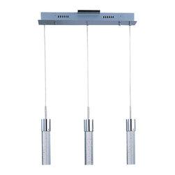 ET2 Lighting - ET2 Lighting E22773-91PC Fizz IV Polished Chrome LED Linear Pendant - 3 Bulbs, Bulb Type: 8 Watt LED, Bulbs Included