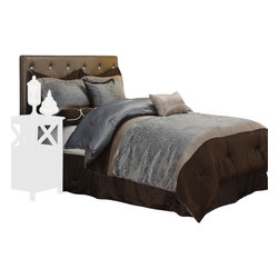 Mackenzie Bedding Set - Queen - Transform your bedroom into a cozy, luxurious sanctuary with the Mackenzie full bed set. This Gorgeous set features an extremely detailed floral pattern that is sure to add a fashionable design to your bedroom. Featuring a comforter, bed skirt, two pillow shams, and three different types of throw pillows.