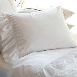 Taylor Linens - Margaret Standard Pillowcase Set - Unabashedly romantic, these luxurious pillowcases are adorned with classic wide tucks and generous ruffles, offering endless nights of caressing comfort. Sold in sets of two, the pillowcases are made of machine-washable cotton percale for years of carefree enjoyment.