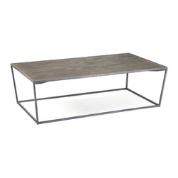 Kathy Kuo Home - Bleecker Modern Rustic Industrial Gray Steel Reclaimed Oak Coffee Table - Mixing modern and industrial with a rustic twist, this sleek, simple coffee table anchors any d̩cor with a natural, reclaimed oak tabletop on an iron rectangular base. Offering plenty of surface area for books, favorite snacks or even the occasion pair of weary legs, this coffee table is stylish but still relaxed and inviting.