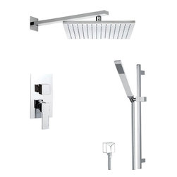 Remer - Square Shower System with Sliding Rail, Matte Black - A wall mounted contemporary shower faucet that is made in brass and finished with matte white, matte black, chrome, gold, old copper, old brass, oil bronze, or satin nickel.
