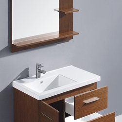 Vigo Industries - Modern Trio Single Bathroom Vanity w Mirror - Includes wall mounting hardware and drain assembly. Faucet not included. Two drawers. One door. Top mount ceramic sink with single hole. Soft closing hardware. Artistic pull accents. Anti scratch paint surface. Matching trim with matching shelf on lower edge and sides of mirror. One long horizontal shelf. Two small shelves. Warranty: Five years limited. Made from wood and glass. Wenge and white finish. Mirror: 31.5 in. W x 35.5 in. H. Mirror Shelf Depth: 4.75 in.. Cabinet: 31.5 in. W x 18.13 in. D x 21.63 in. H. Assembly InstructionsThis convenient sized vanity is a stunning addition to any bathroom.