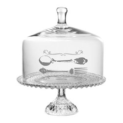 """Home Essentials - Glass Beaded Cake Stand with Fork & Spoon Decal - Serve your festive cakes and desserts with a touch of chic and class in our incredible beaded cake plate with dome. Expertly crafted of the finest glass, this attractive cake plate will create a sensational dessert buffet and can withstand everyday use. A masterpieces of quality and design, this sophisticated decal cake dome will spice up any kitchen or living room with culinary style. Serves as a great gift for chefs or the passionate, home loving cook in your family.    * Dimensions: D: 12"""" H: 14""""  * Hand wash recommended"""