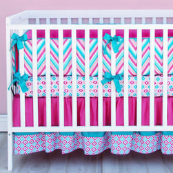 Caden Lane - Lila Pink and Turquoise Chevron Crib Bedding - Caden Lane's chevron baby bedding set gives any nursery a chic and modern look. Bright colors and unique prints make this crib set one of our favorites! We are loving the bold colors; pink, turquoise and coral. This crib set features a variety of prints; chevron, diamond and mod.