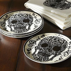 "Day of the Dead Porcelain Salad Plate, Set of 4 - Our porcelain Day of the Dead plates feature an eerily elegant design. 7.25"" diameter Made of porcelain with an on-glaze decal. Set of 4. Microwave- and dishwasher-safe. Catalog / Internet only."