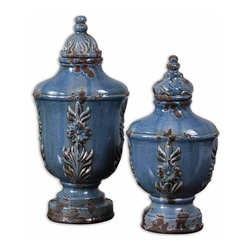 Old World Crackle Blue Lidded Jars Set of 2 - *Made of ceramic, these containers feature a distressed, crackled pale blue finish with antiqued khaki undertones.
