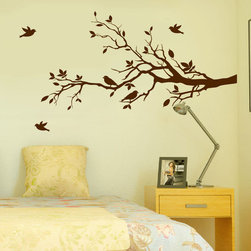 """Innovative Stencils - Tree Branches Wall Decal Love Birds Vinyl Sticker Nursery Leaves 56"""" Wide X 28"""", - MADE IN THE USA with 100% USA MATERIALS"""
