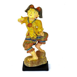 The Loaded Trunk - Consigned Vintage Burmese Statue - A vintage carved wooden Burmese doll or perhaps guardian figure. Much of the original paint remains and this delightful girl is mounted on a black laminate base.