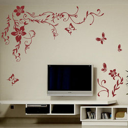 ColorfulHall Co., LTD - Removable Wall Decals Vine Flower Tree Branch With Butterfly Flower, Rose Red - Removable Wall Decals Vine Flower Tree Branch with Butterfly Flower