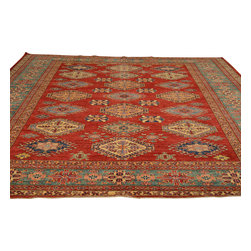 Geometric Red Super Kazak Oriental Rug 9'x12' Hand Knotted 100% Wool Sh18060 - Our Tribal & Geometric hand knotted rug collection, consists of classic rugs woven with geometric patterns based on traditional tribal motifs. You will find Kazak rugs and flat-woven Kilims with centuries-old classic Turkish, Persian, Caucasian and Armenian patterns. The collection also includes the antique, finely-woven Serapi Heriz, the Mamluk Afghan, and the traditional village Persian rug.