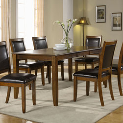 Monarch Specialties - Monarch Specialties 1892 7 Piece Rectangular Dining Room Set in Dark Walnut - Create a contemporary look in your kitchen area with this lovely dining table. Bathed in a dark walnut ash veneer  this piece features a spacious rectangular top with a waterfall profile and shaker legs. For additional space  there is an extension leaf to accommodate up to six of your guests for easy dining. There is no doubt that this piece will be the focal point of your dining space.